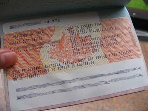 Australia visa label