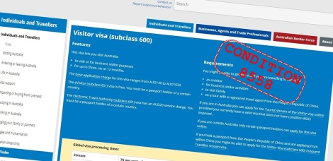 Subclass 600 Condition 8558 Registered Migration Australia
